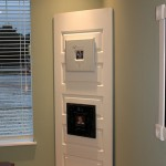 using an old door to display photos