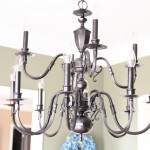 Spraypainted brass chandelier