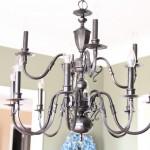 Spraypainted brass chandelier