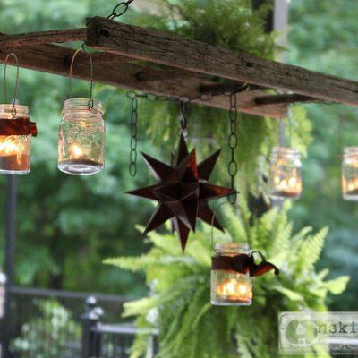 Pottery Barn inspired ladder lantern porch chandelier