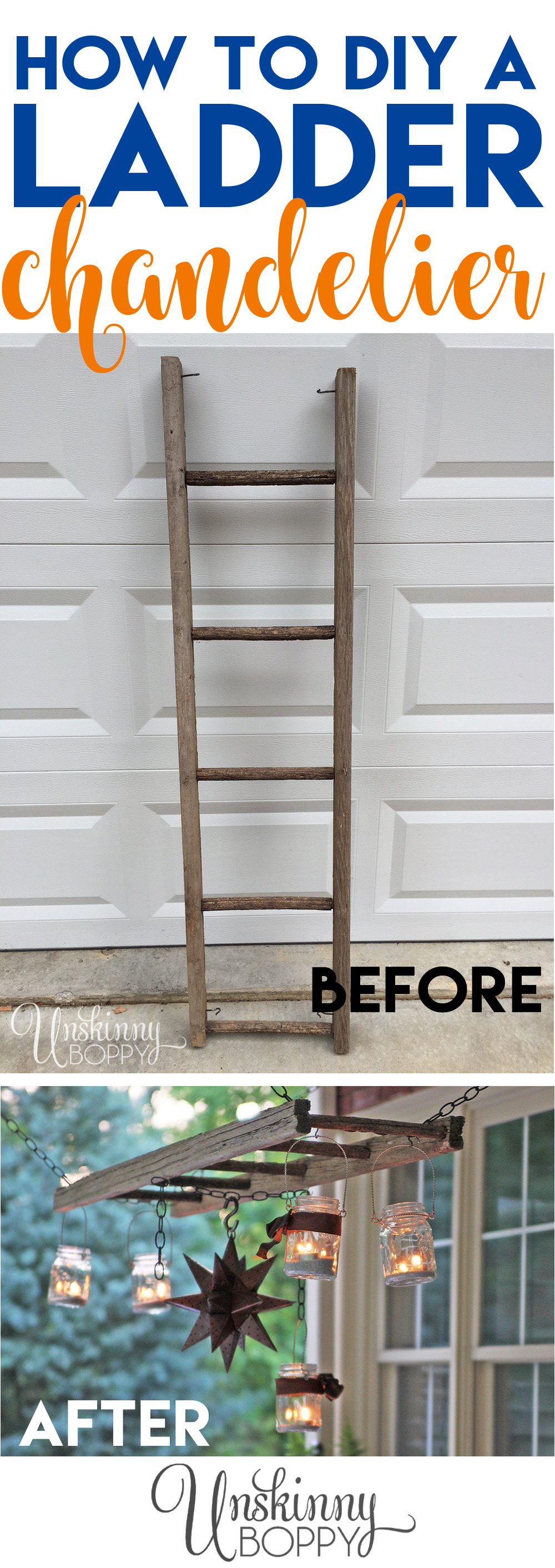DIY rustic Ladder chandelier