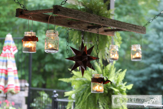 hanging ladder with mason jars and moravian star