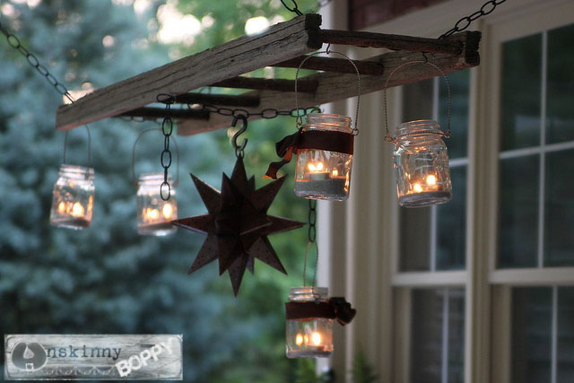 old ladder turned into a chandelier