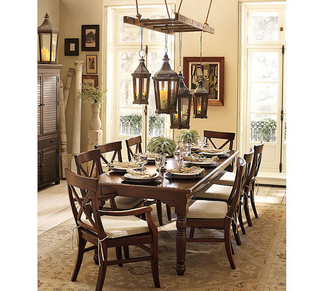 pottery barn ladder over dining table