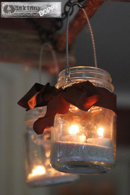 ladder chandelier tealight candles in mason jar