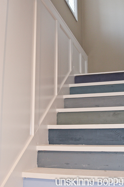 DIY Painted staircase with board and batten