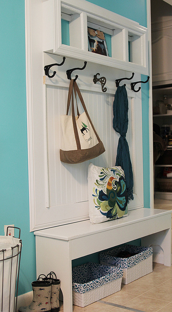 Aqua blue and beadboard white mudroom bench
