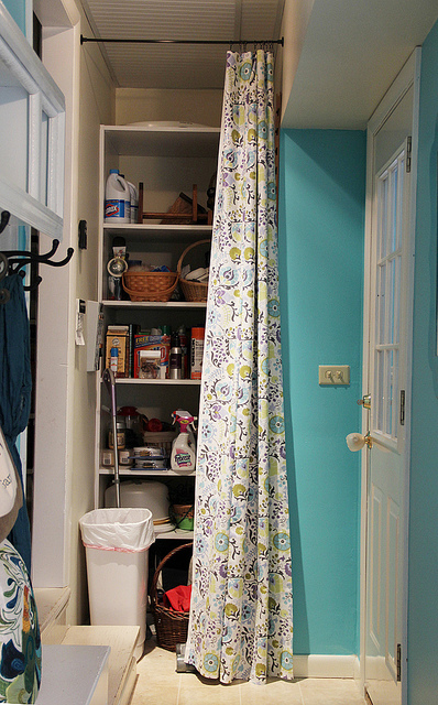 No sew curtain to cover tall closet door