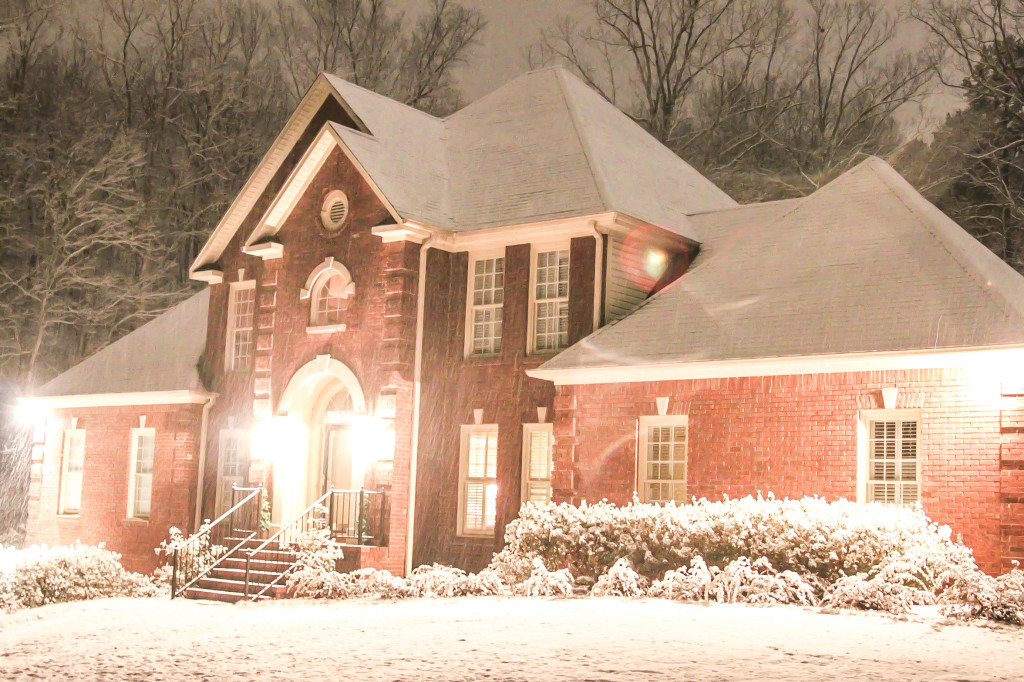 Red brick house in the snow (1 of 1)