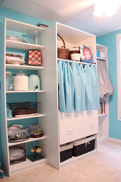 aqua blue and white shelving