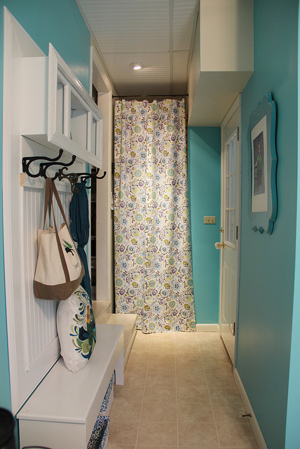 mudroom bench in hallway