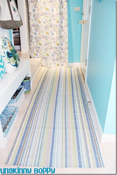 Dash and Albert Aqua Striped Runner Rug in Laundry Room by Unskinny Boppy