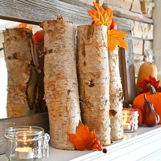 Birch logs as mantel decor