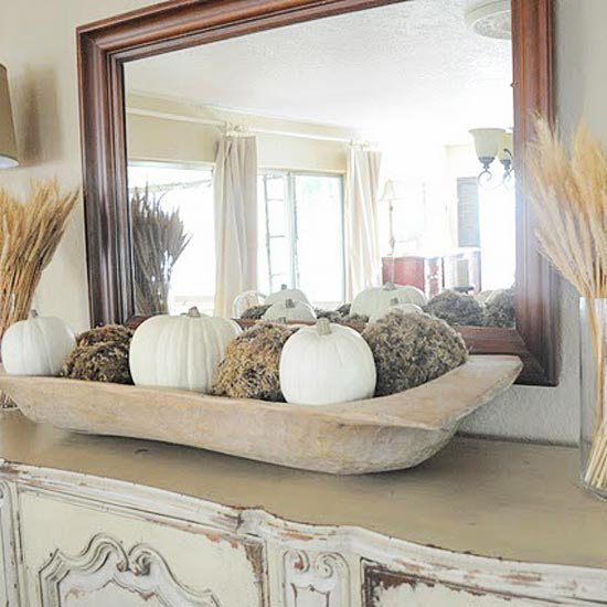 Wheat and Pumpkins in a dough bowl fall mantel