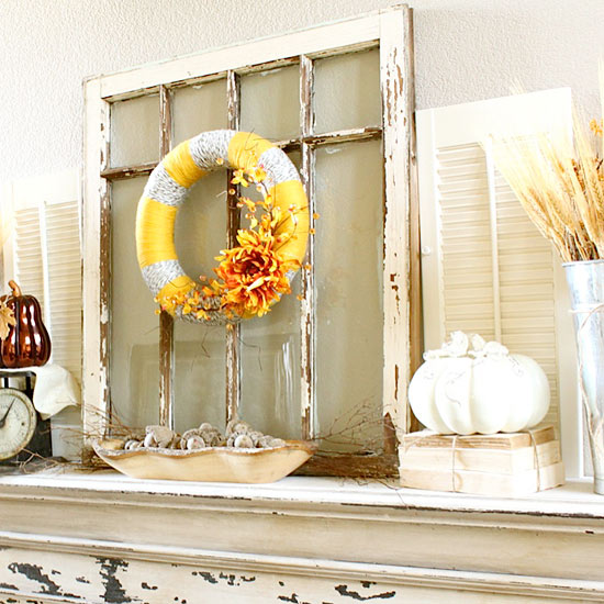 Yellow Orange and Gray Fall Mantel
