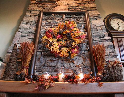 fall mantel with rock fireplace, wheat and oak leaf wreath