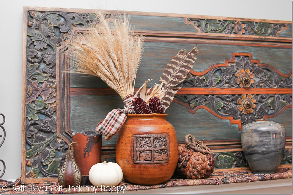 Fall and Thanksgiving Mantel decorating ideas ALEWINE POTTERY AND WHEAT