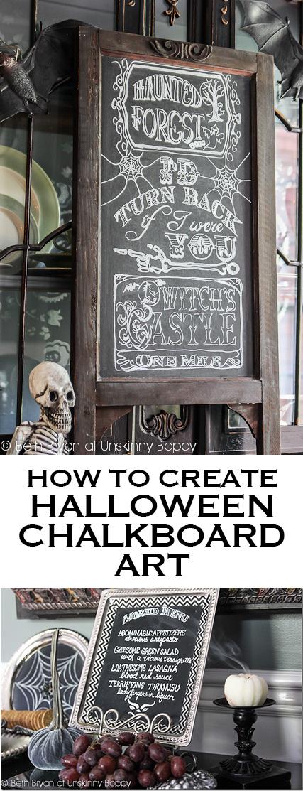 HOW TO CREATE HALLOWEEN CHALKBOARD ART
