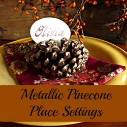 Make It:  Metallic Pinecone Crafts Place Setting - a bit of bling for your fall table eclecticallyvinage.com