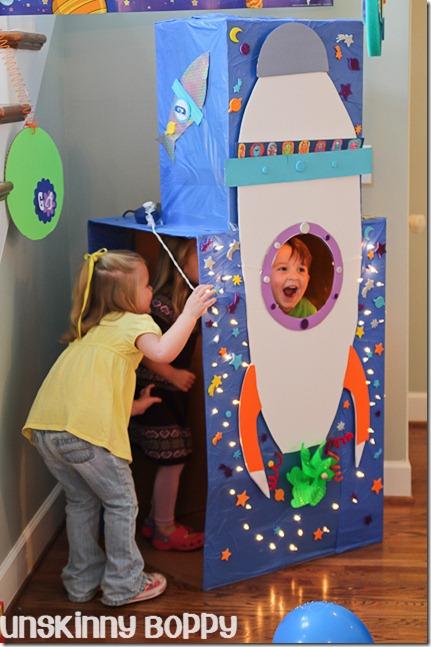Blast Off rocket ship themed birthday party