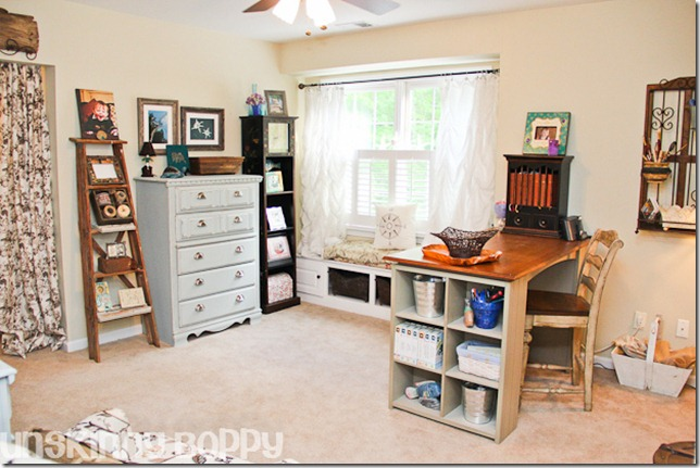 Rustic home office & craft room with craft table