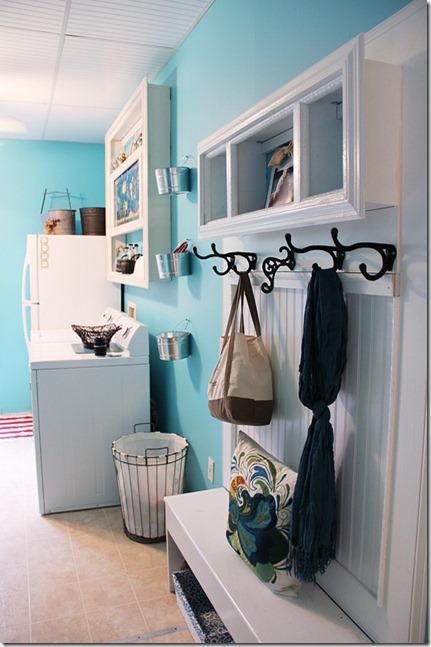 aqua blue laundry room makeover reveal
