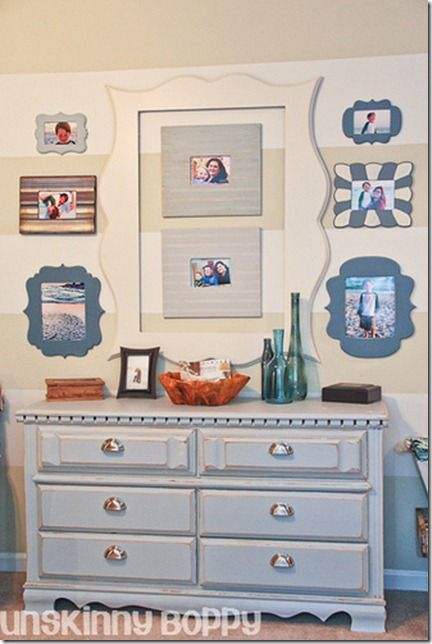 funky frame collage on a striped wall