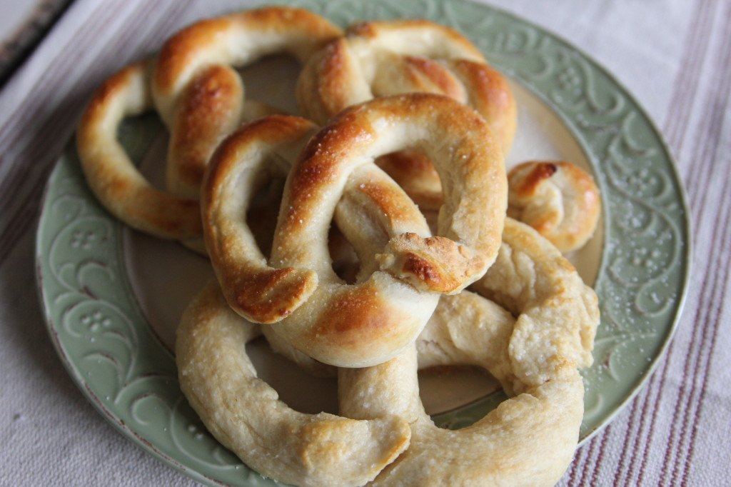 I found an Amish soft pretzel recipe that was close enough to the pretzels we had on vacation. With a little tweaking, they come out perfect!