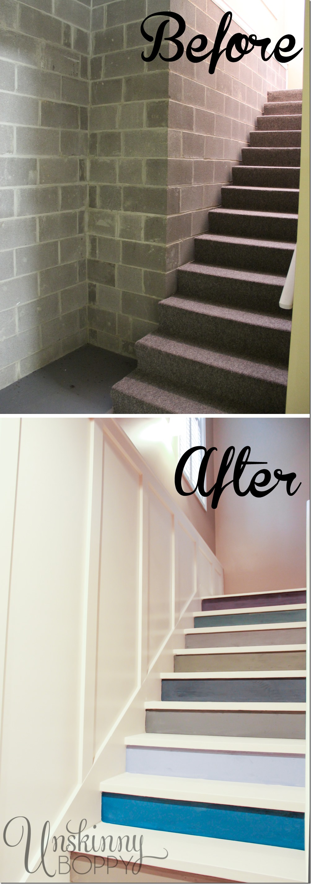 Before And After Of Basement Stairs Painted With Multicolored Paint.