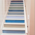 Colorful painted staircase with board and batten