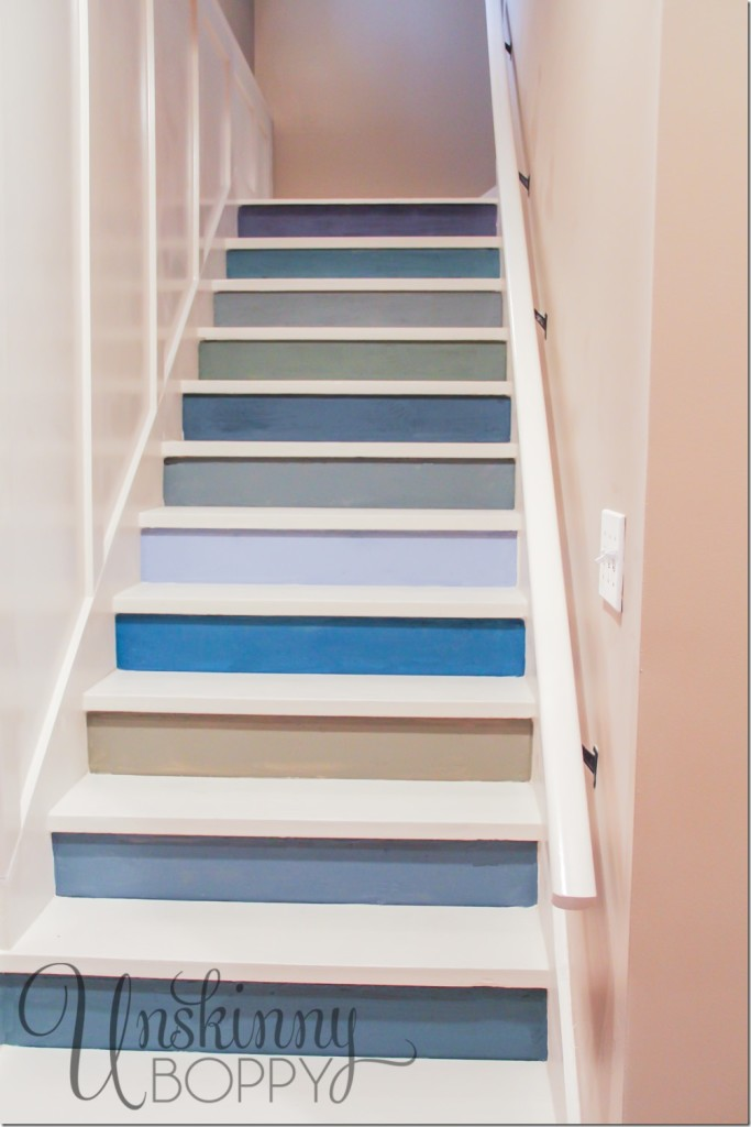 painted basement steps with board and batten unskinny boppy. Black Bedroom Furniture Sets. Home Design Ideas