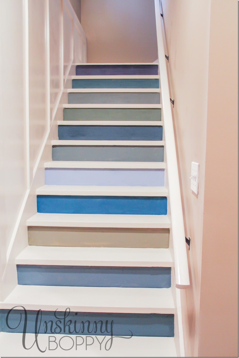 Here's the finished project - the colorful stairs look great from the bottom of the staircase!