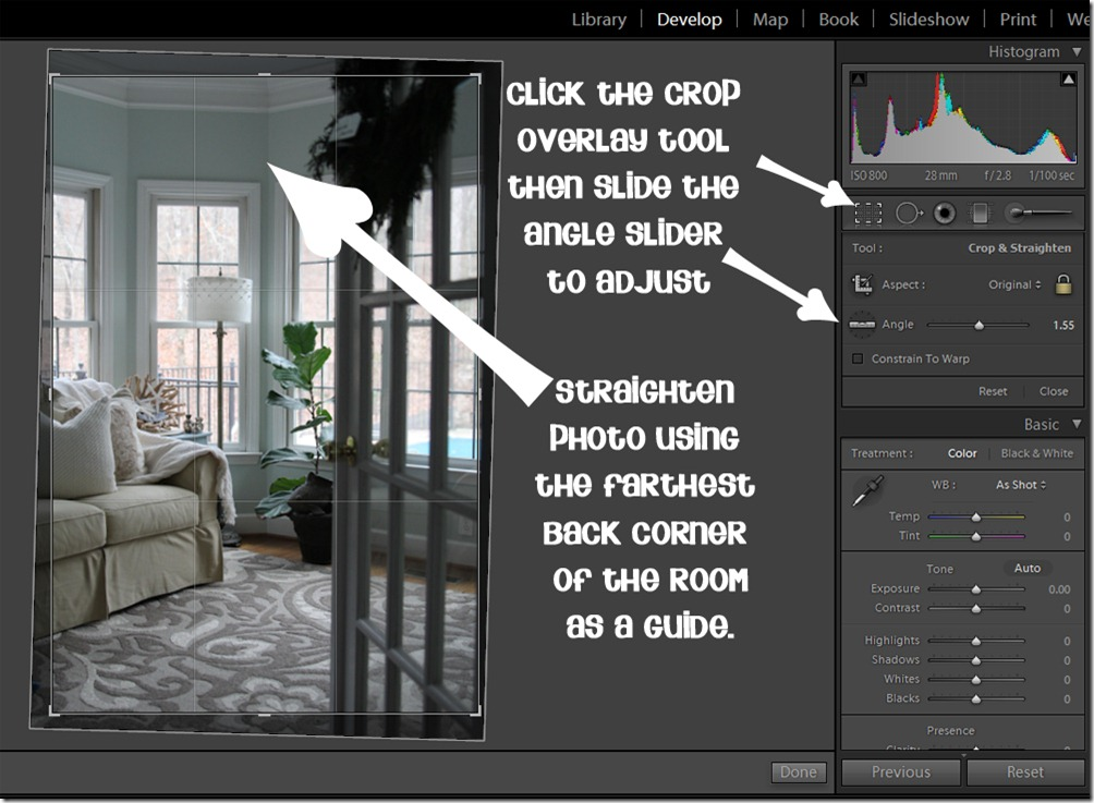 How to straighten a photo in Lightroom.