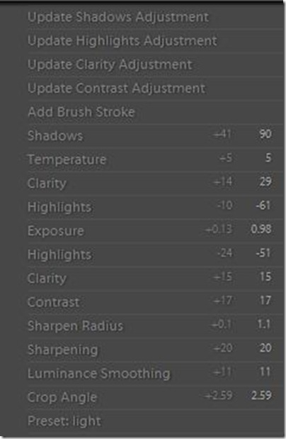 Lightroom settings I use to edit photos in lightroom.