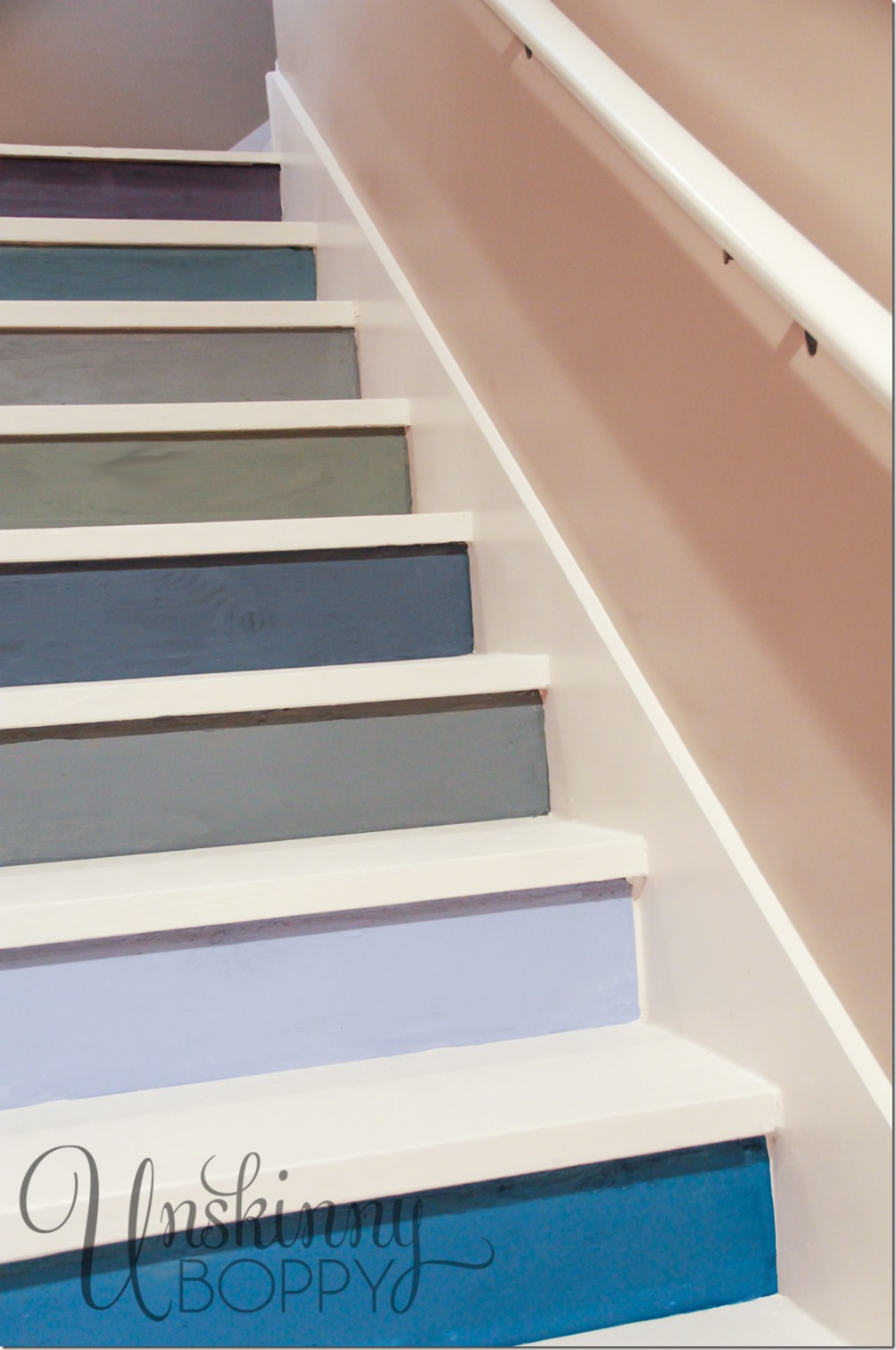 Multicolored Painted Basement Steps
