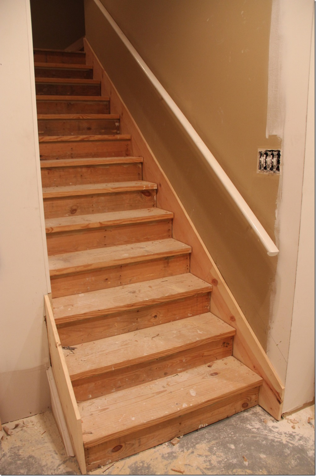 We had to pull up the carpet on the stairs, here's a picture of the project in progress.