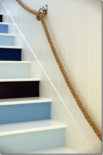 Jonathon Adler's Beach House Stairs inspired me to transform our basement stairs.
