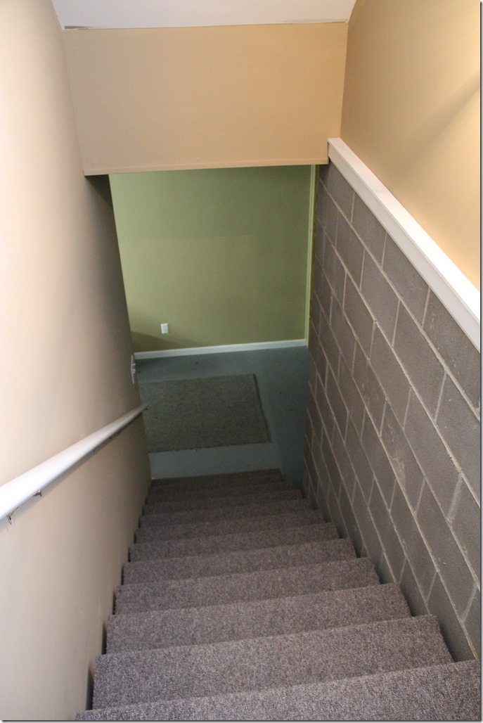Our basement stairs needed a serious transformation. Here's the before picture of our stairs.