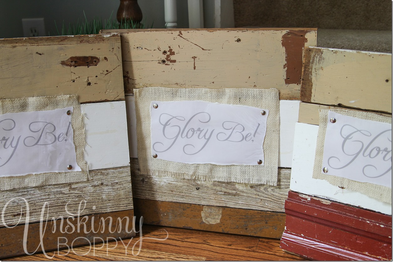 Reclaimed lumber signs made with vellum dipped in wax and burlap (13 of 17)