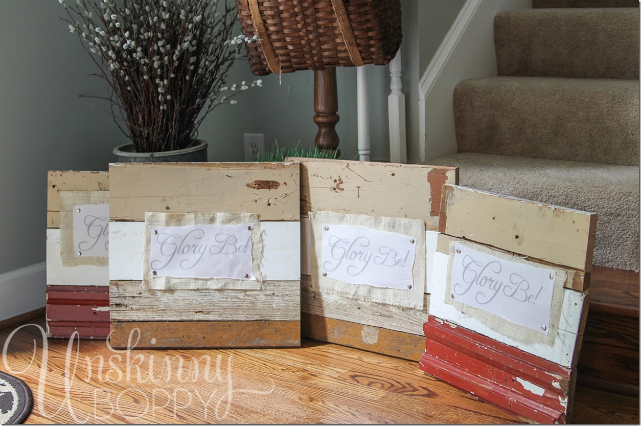 Reclaimed lumber signs made with vellum dipped in wax and burlap (14 of 17)