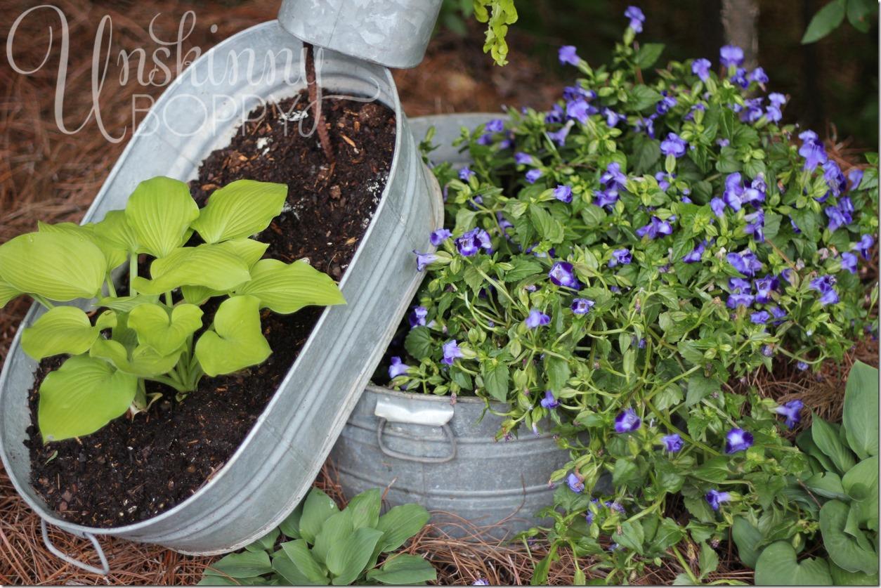 pinterest galvanized bucket stacked planter
