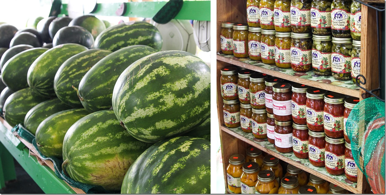 watermelons and canned goods