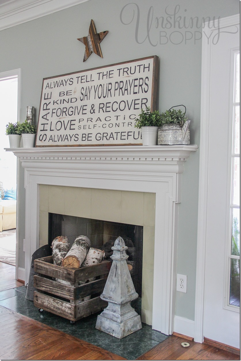 FAMILY RULES SIGN ON A LATE SUMMER MANTEL  Unskinny Bop ~ 141146_Fireplace Mantel Decorating Ideas For Summer