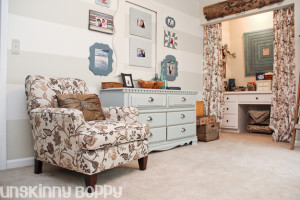 Cozy, rustic office and craft room makeover