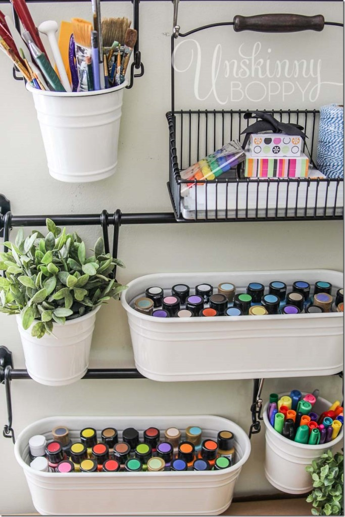 Ikea fintorp rail set in craft room organization