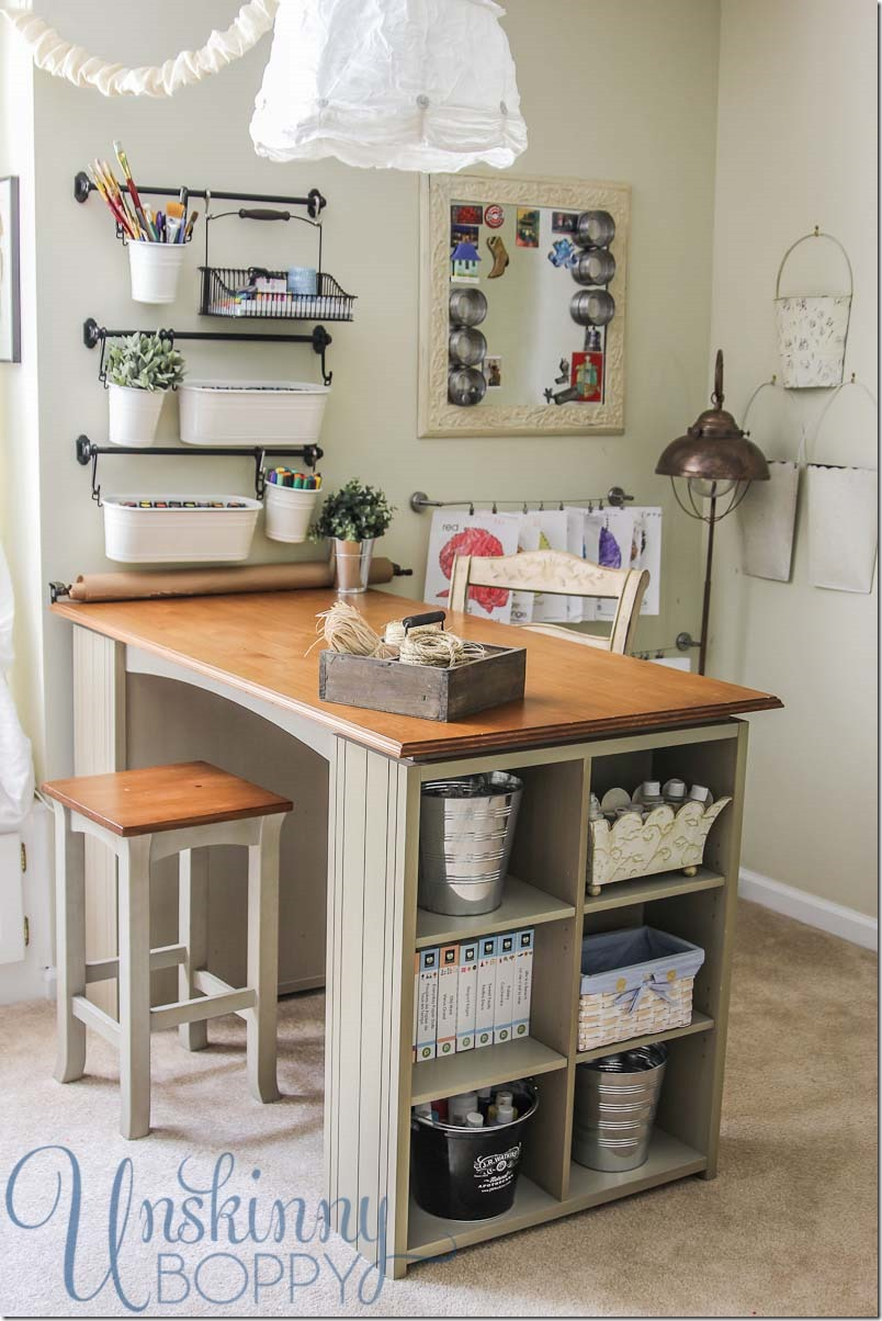 Updating and organizing the craft room unskinny boppy for Craft desk with storage