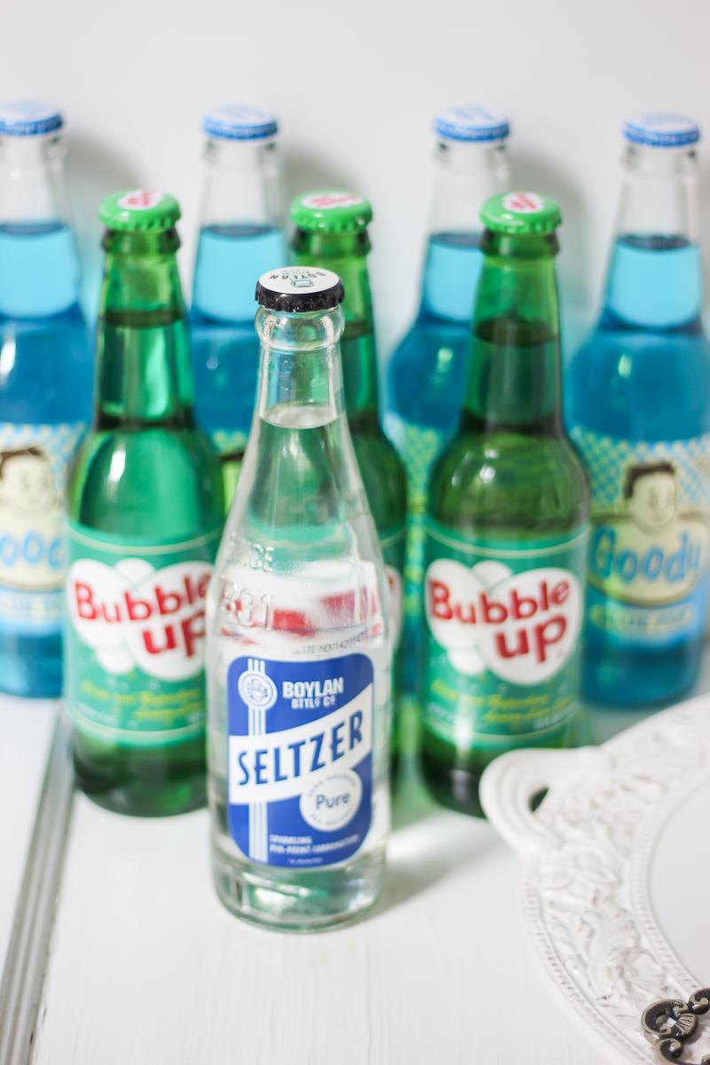 Vintage soda display for a shower