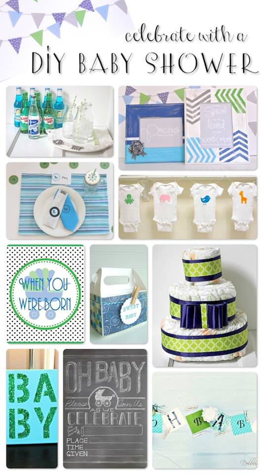 green,blue and white baby shower theme