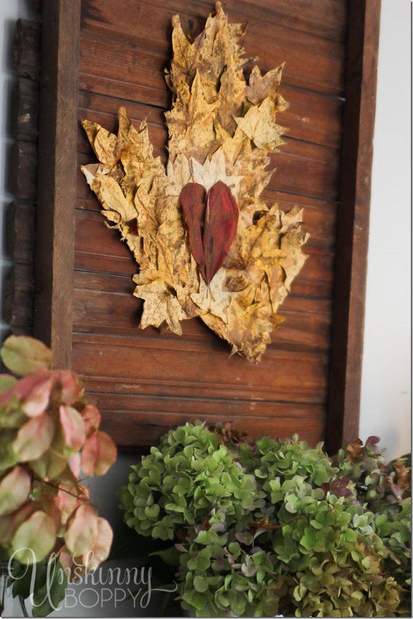 leaf-art-on-wood-mantel