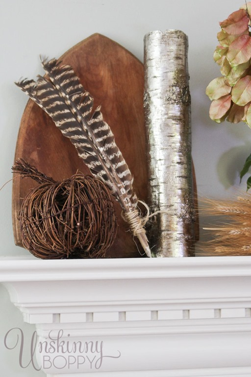 Turkey feathers in fall decor